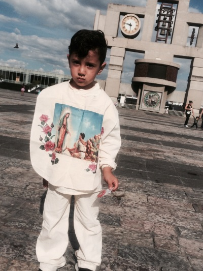Ayden dressed up as Juan Diego at the Basilica of Our Lady Of Guadalupe.